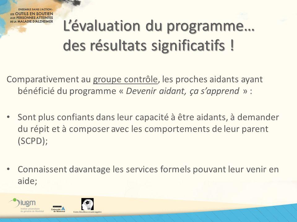 L'évaluation du programme… des résultats significatifs !