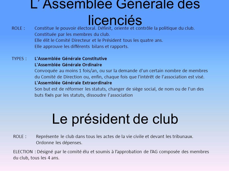 L' Assemblée Générale des licenciés