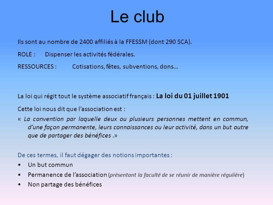 Le club Ils sont au nombre de 2400 affiliés à la FFESSM (dont 290 SCA). ROLE : Dispenser les activités fédérales.