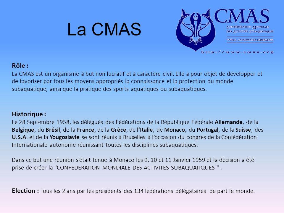 La CMAS Rôle : Historique :