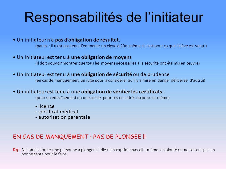 Responsabilités de l'initiateur