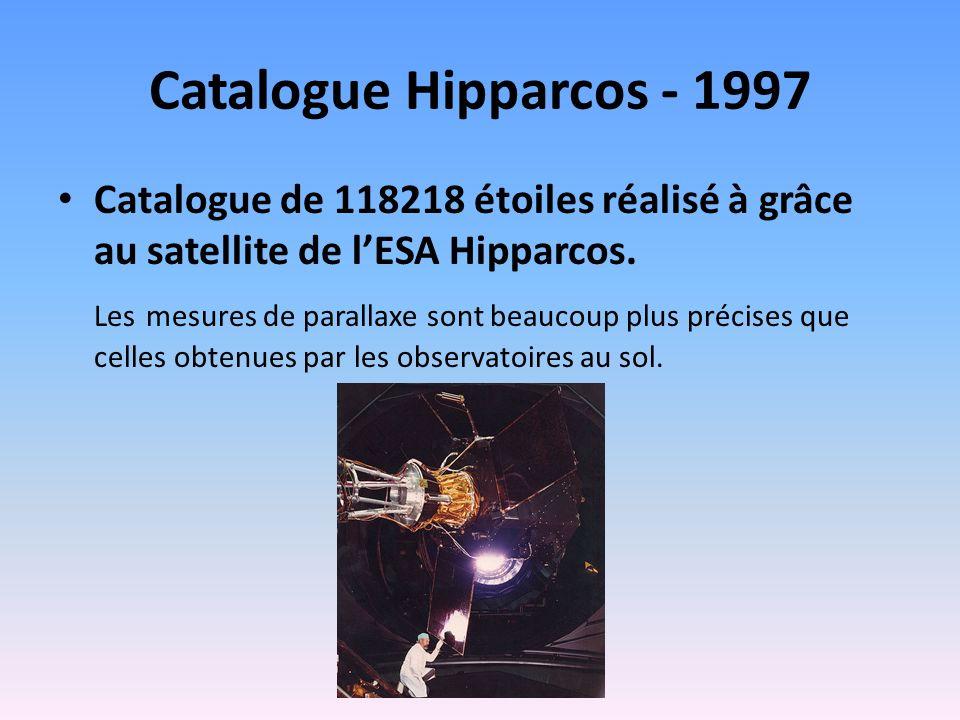 Catalogue Hipparcos - 1997 Catalogue de 118218 étoiles réalisé à grâce au satellite de l'ESA Hipparcos.