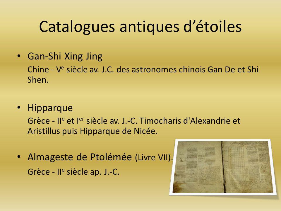 Catalogues antiques d'étoiles