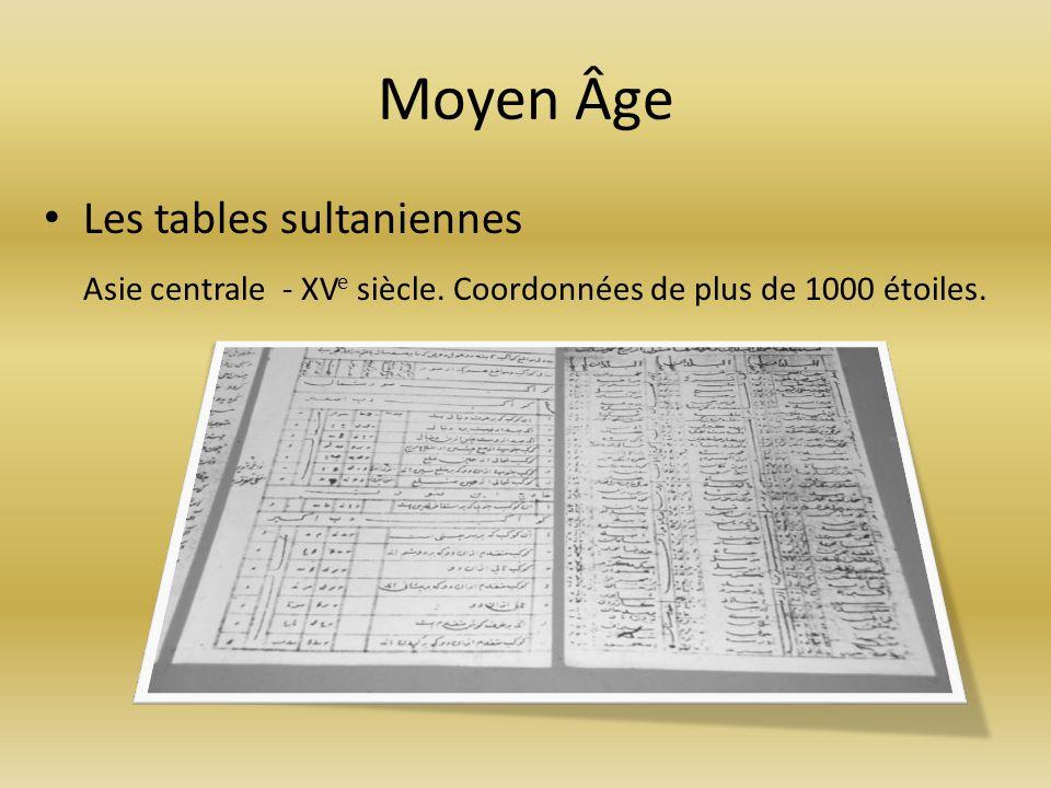Moyen Âge Les tables sultaniennes