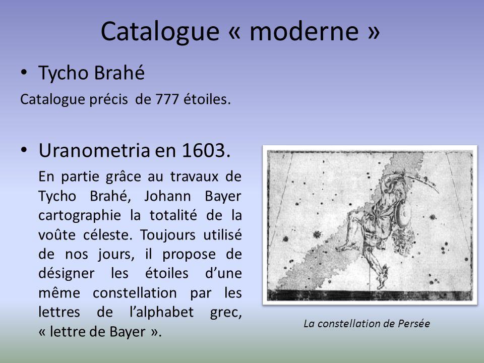Catalogue « moderne » Tycho Brahé Uranometria en 1603.