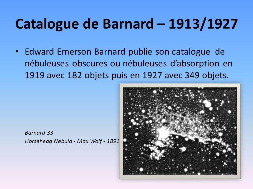 Catalogue de Barnard – 1913/1927
