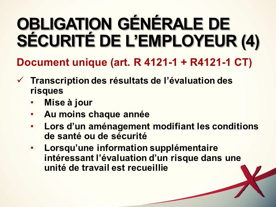 OBLIGATION GÉNÉRALE DE SÉCURITÉ DE L'EMPLOYEUR (4)