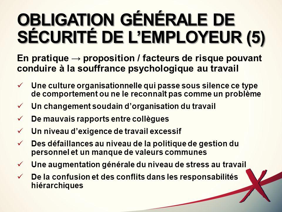 OBLIGATION GÉNÉRALE DE SÉCURITÉ DE L'EMPLOYEUR (5)