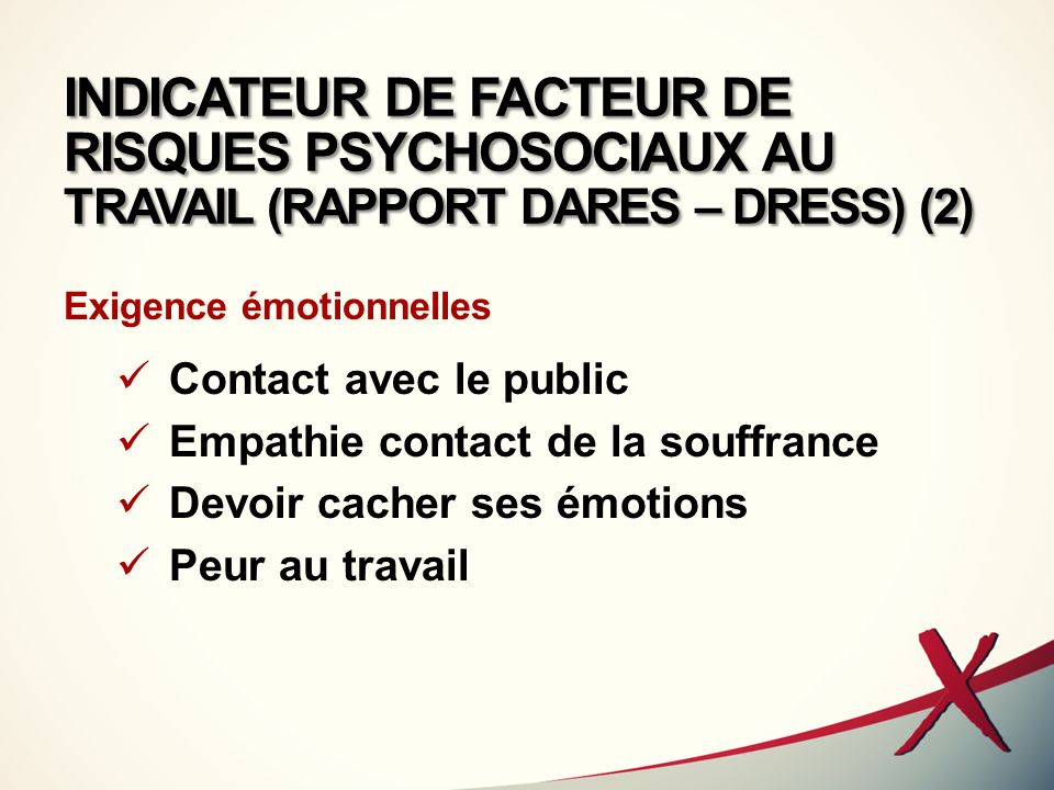INDICATEUR DE FACTEUR DE RISQUES PSYCHOSOCIAUX AU TRAVAIL (RAPPORT DARES – DRESS) (2)