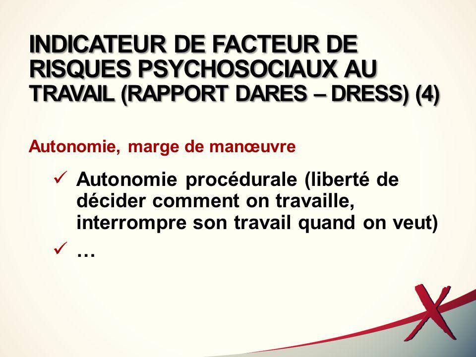 INDICATEUR DE FACTEUR DE RISQUES PSYCHOSOCIAUX AU TRAVAIL (RAPPORT DARES – DRESS) (4)
