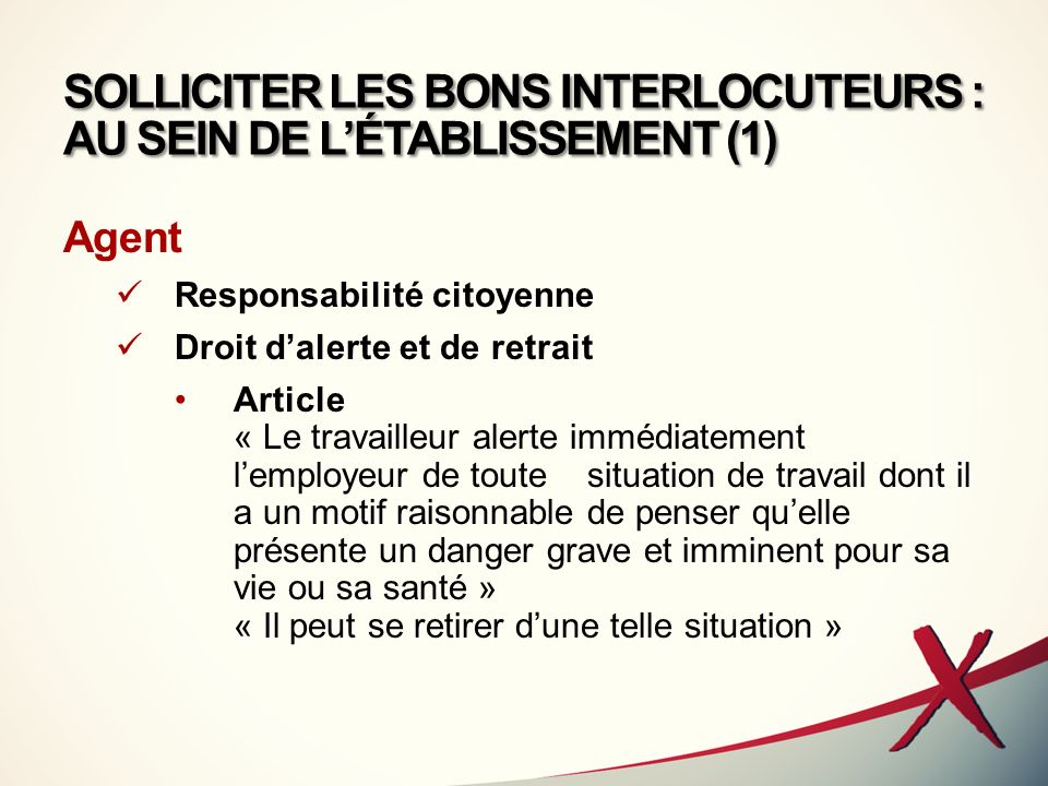 SOLLICITER LES BONS INTERLOCUTEURS : AU SEIN DE L'ÉTABLISSEMENT (1)