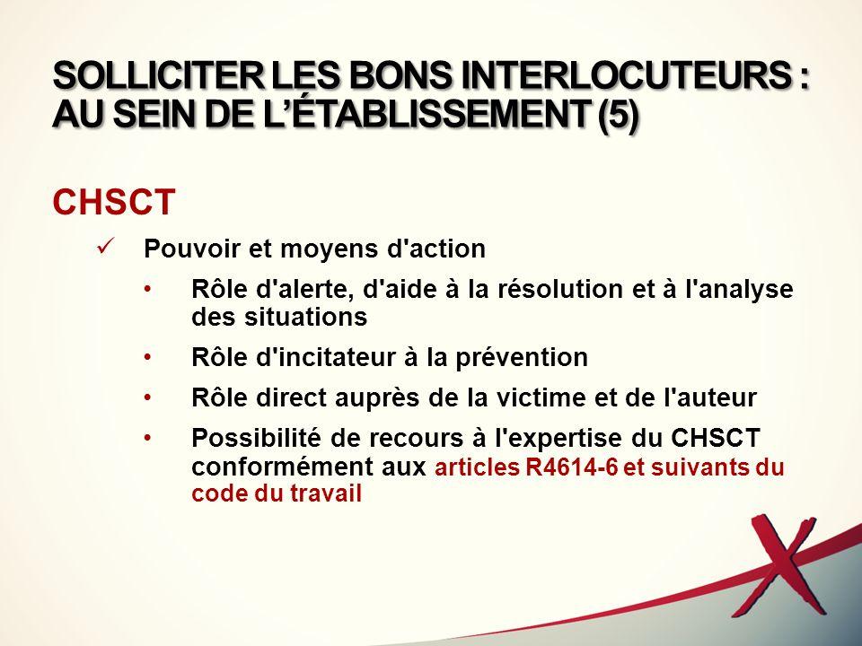 SOLLICITER LES BONS INTERLOCUTEURS : AU SEIN DE L'ÉTABLISSEMENT (5)