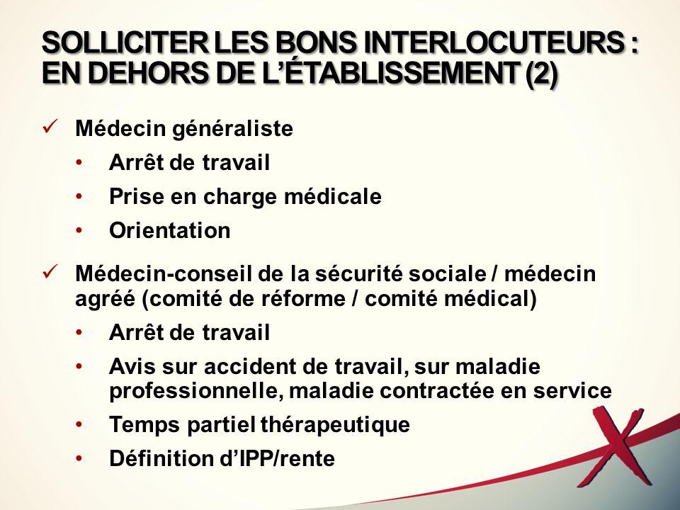 SOLLICITER LES BONS INTERLOCUTEURS : EN DEHORS DE L'ÉTABLISSEMENT (2)