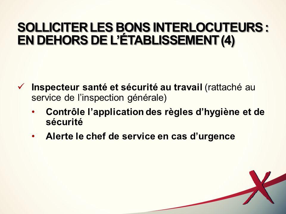SOLLICITER LES BONS INTERLOCUTEURS : EN DEHORS DE L'ÉTABLISSEMENT (4)