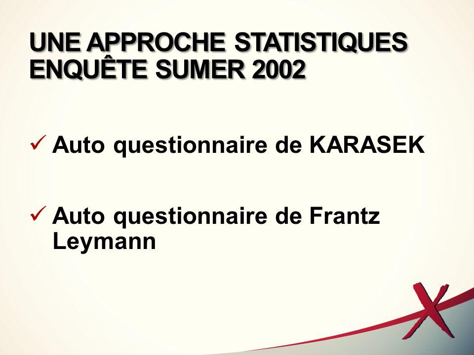 UNE APPROCHE STATISTIQUES ENQUÊTE SUMER 2002