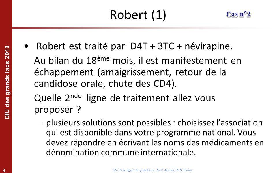 Robert (1) Robert est traité par D4T + 3TC + névirapine.