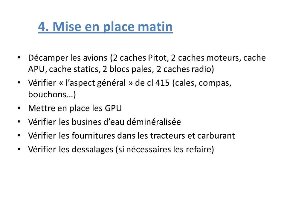 4. Mise en place matin Décamper les avions (2 caches Pitot, 2 caches moteurs, cache APU, cache statics, 2 blocs pales, 2 caches radio)