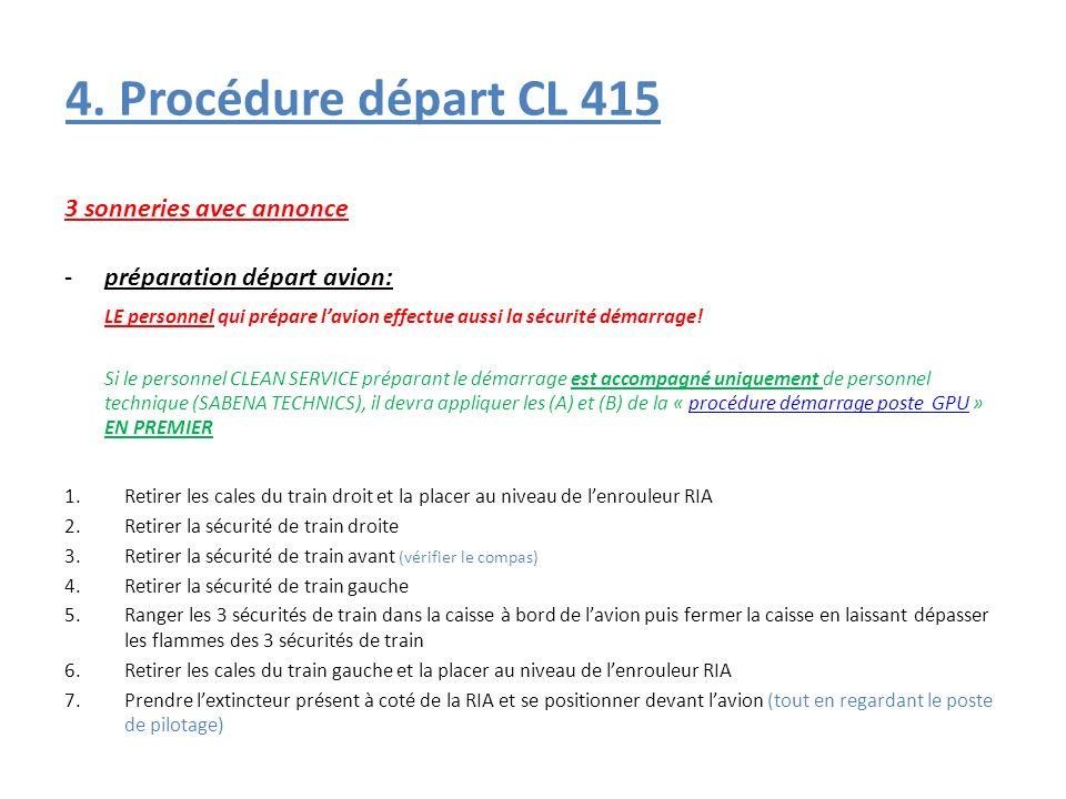4. Procédure départ CL 415 3 sonneries avec annonce