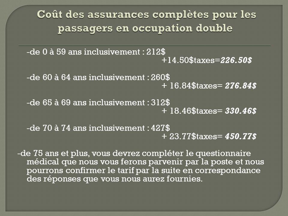 Coût des assurances complètes pour les passagers en occupation double