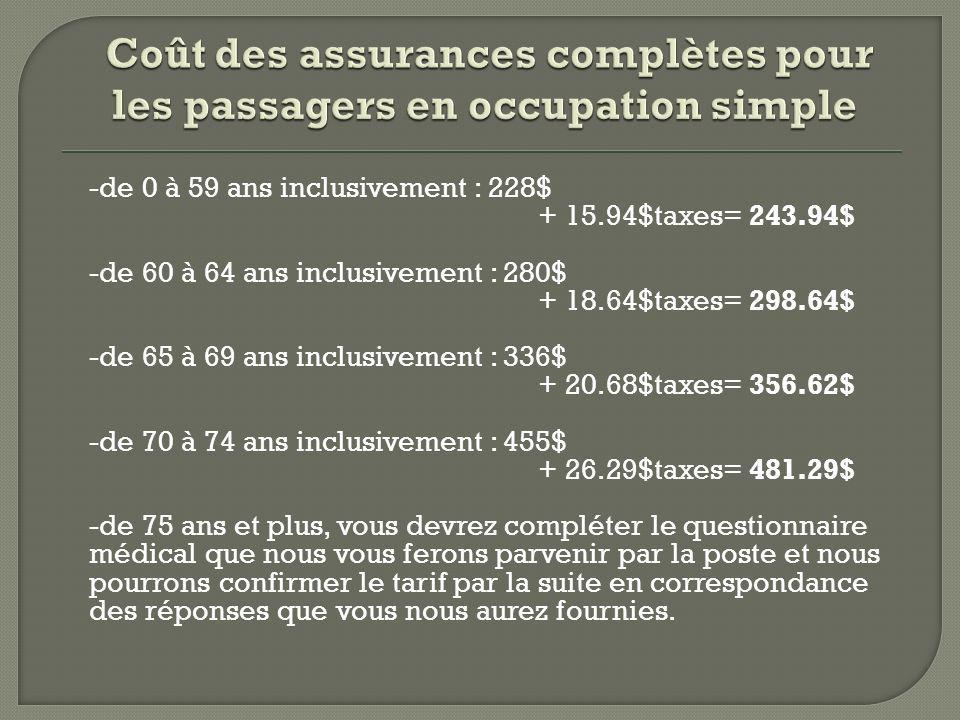 Coût des assurances complètes pour les passagers en occupation simple