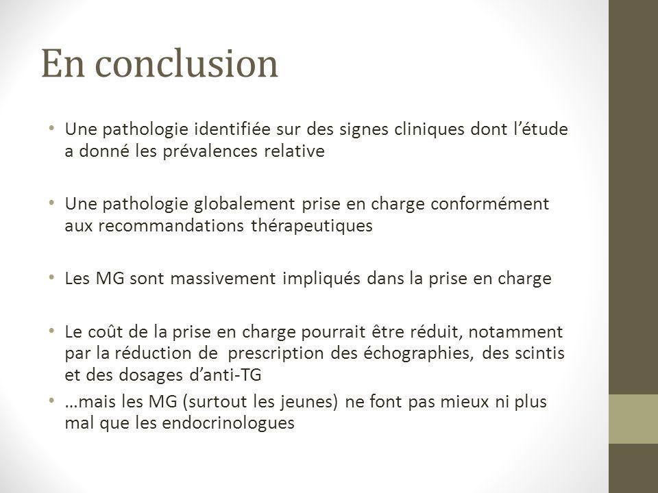 En conclusion Une pathologie identifiée sur des signes cliniques dont l'étude a donné les prévalences relative.