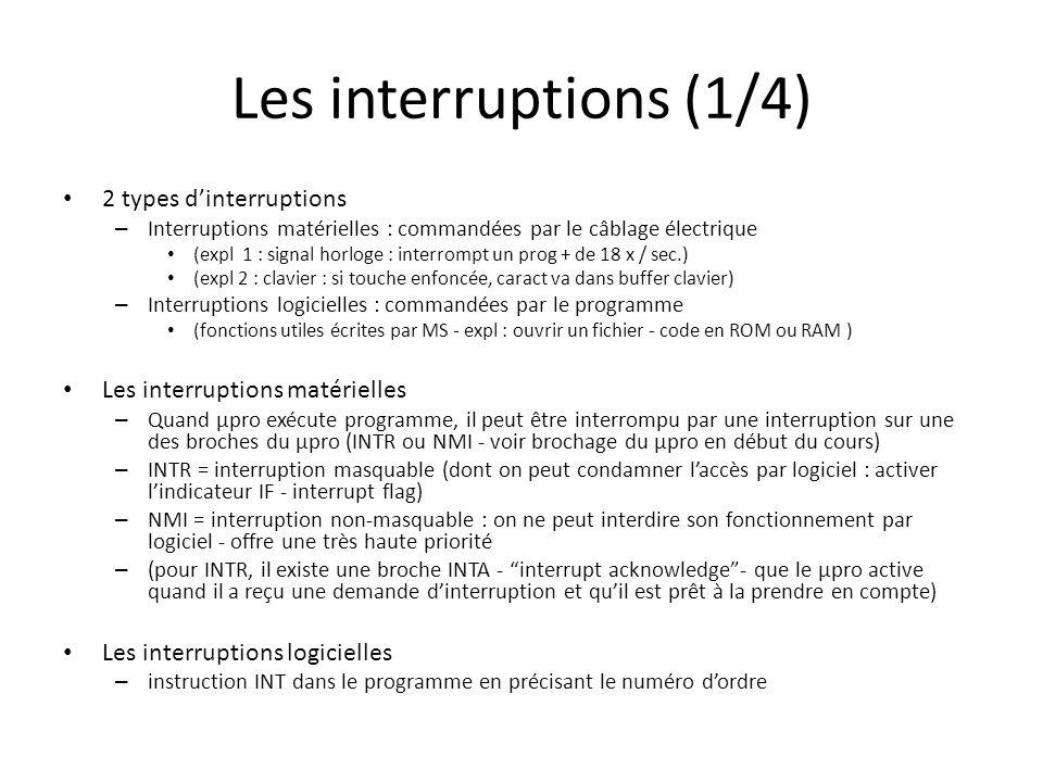 Les interruptions (1/4) 2 types d'interruptions
