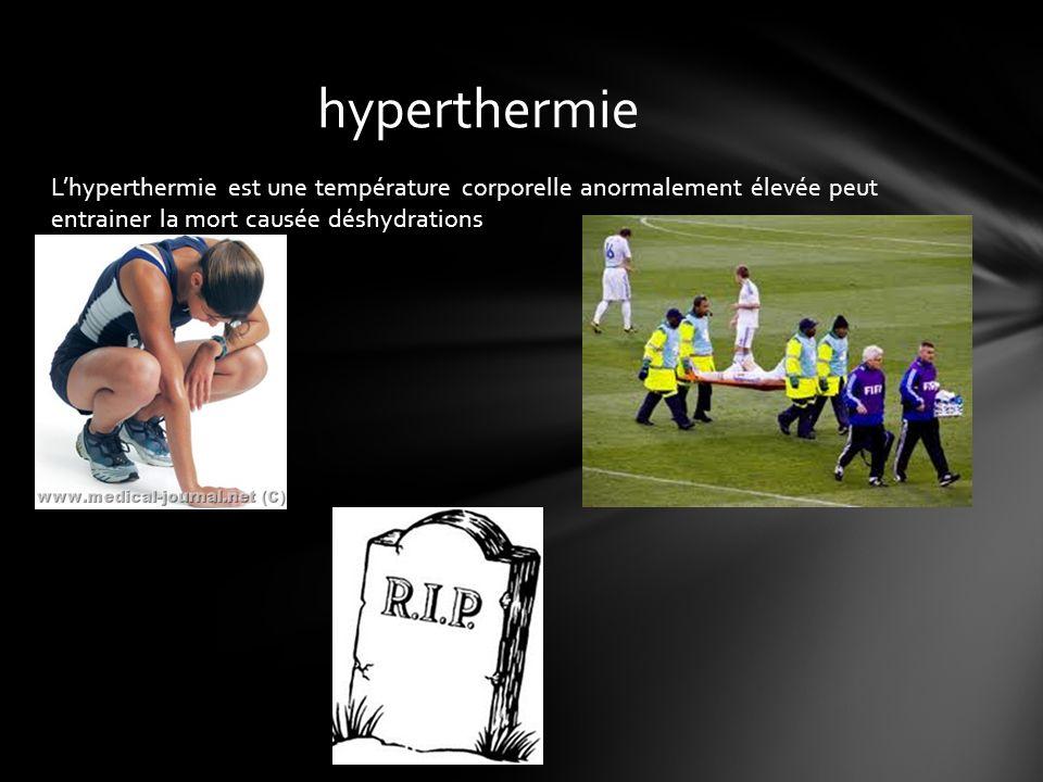 hyperthermie L'hyperthermie est une température corporelle anormalement élevée peut entrainer la mort causée déshydrations.