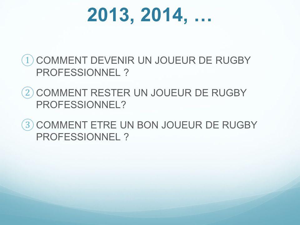 2013, 2014, … COMMENT DEVENIR UN JOUEUR DE RUGBY PROFESSIONNEL