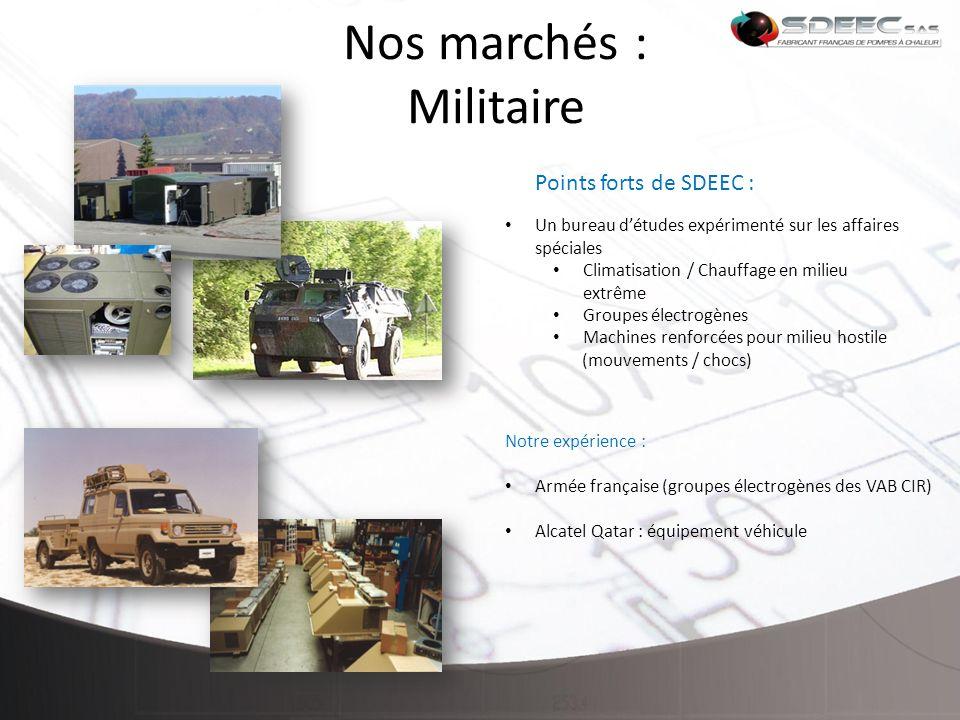 Nos marchés : Militaire