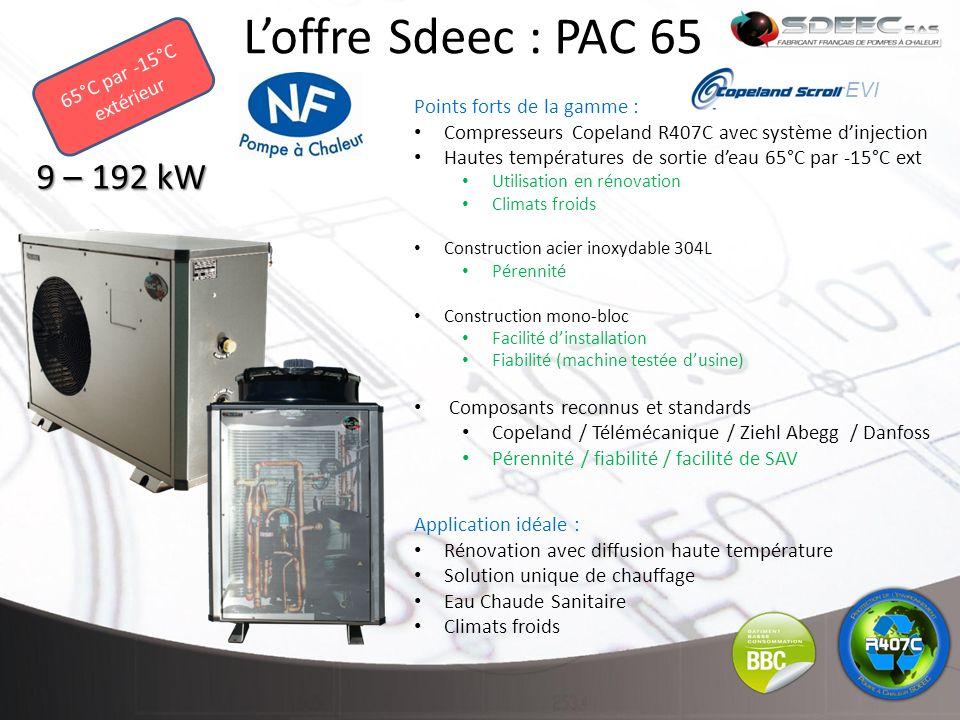L'offre Sdeec : PAC 65 9 – 192 kW 65°C par -15°C extérieur EVI