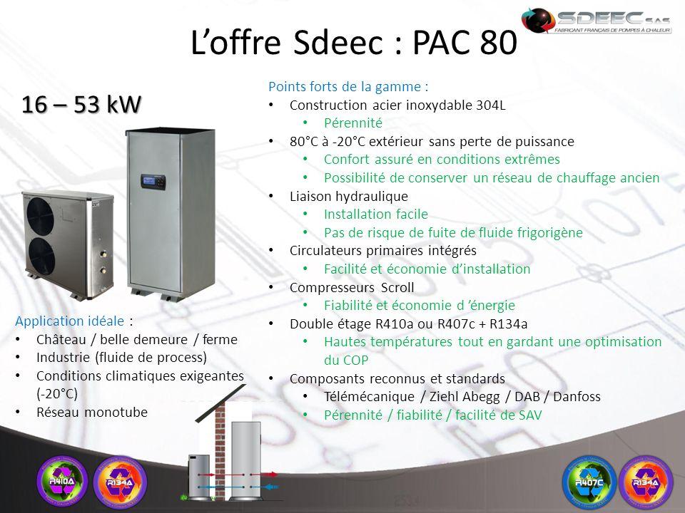 L'offre Sdeec : PAC 80 16 – 53 kW Points forts de la gamme :