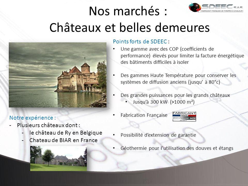 Nos marchés : Châteaux et belles demeures