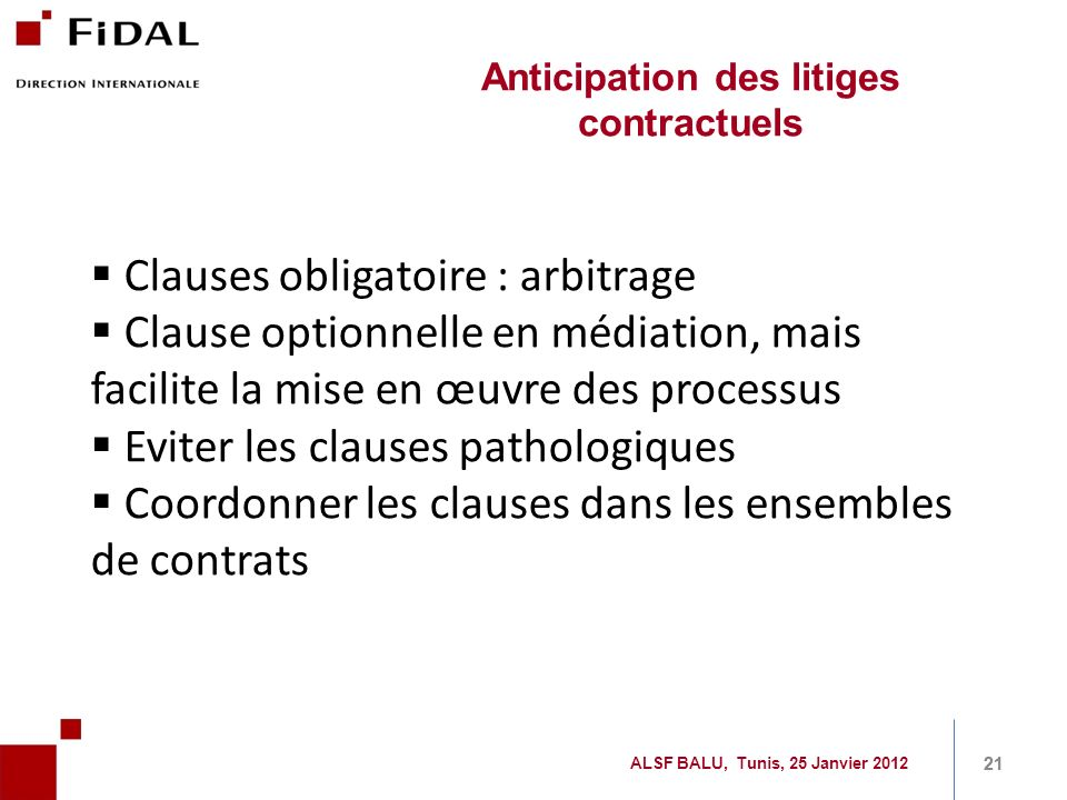 Anticipation des litiges contractuels