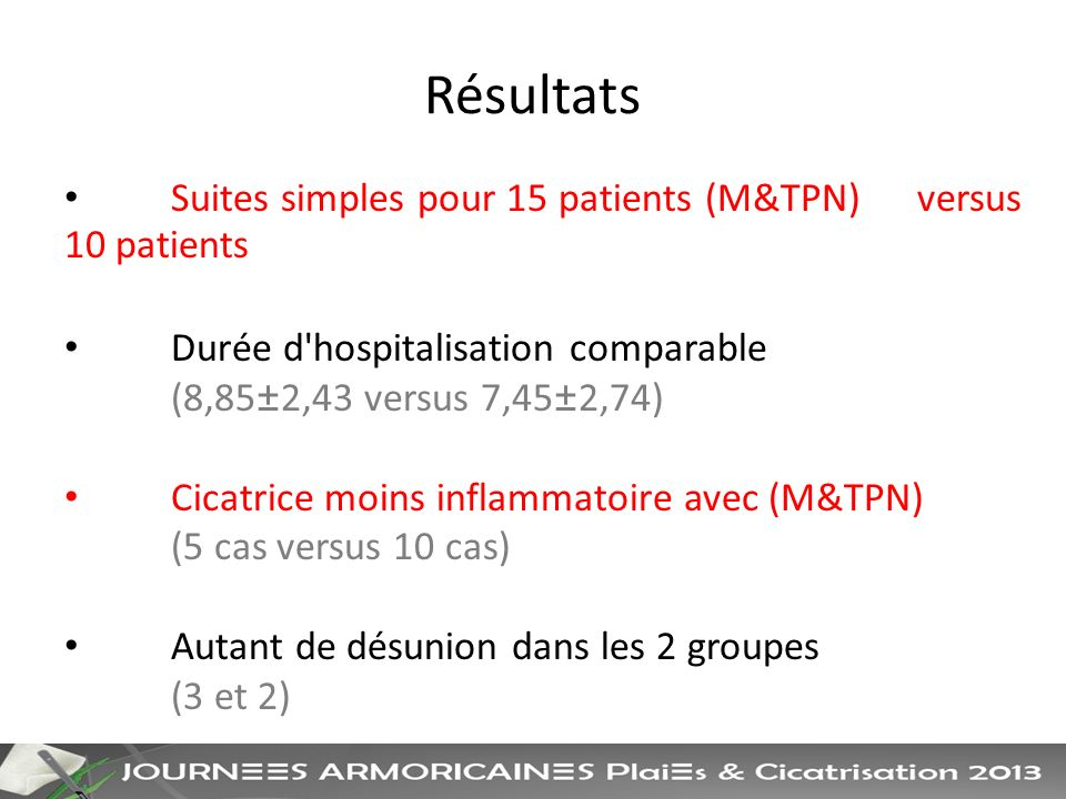 Résultats Suites simples pour 15 patients (M&TPN) versus 10 patients