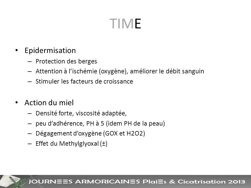 TIME Epidermisation Action du miel Protection des berges