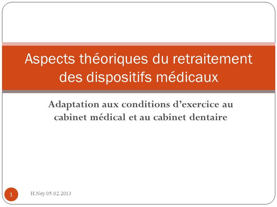Aspects théoriques du retraitement des dispositifs médicaux