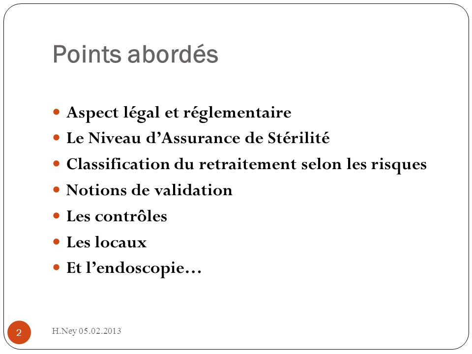 Points abordés Aspect légal et réglementaire
