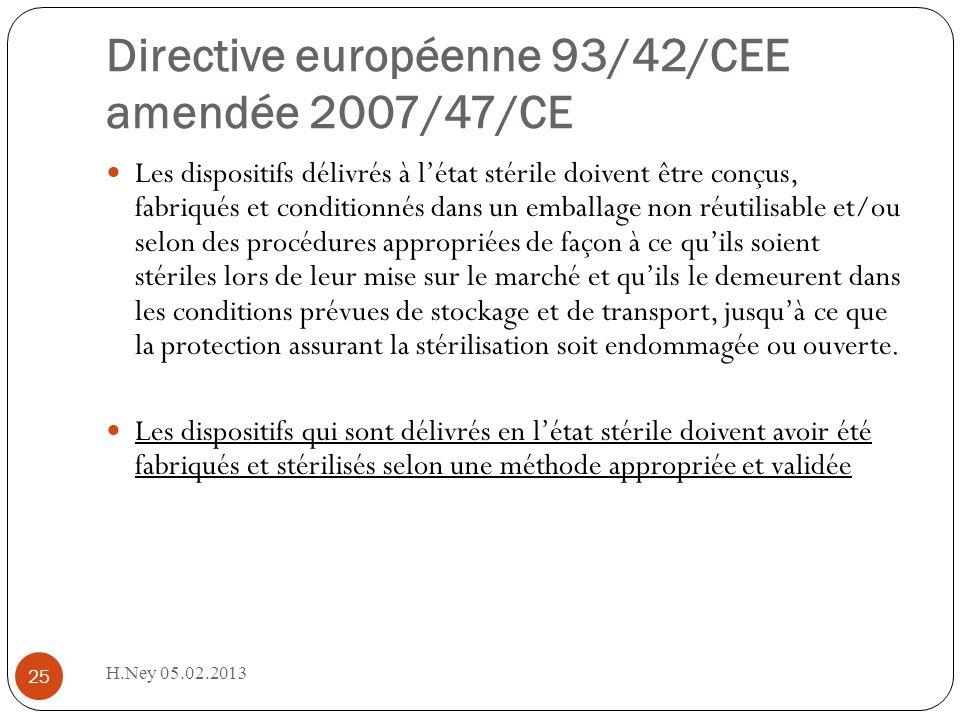 Directive européenne 93/42/CEE amendée 2007/47/CE