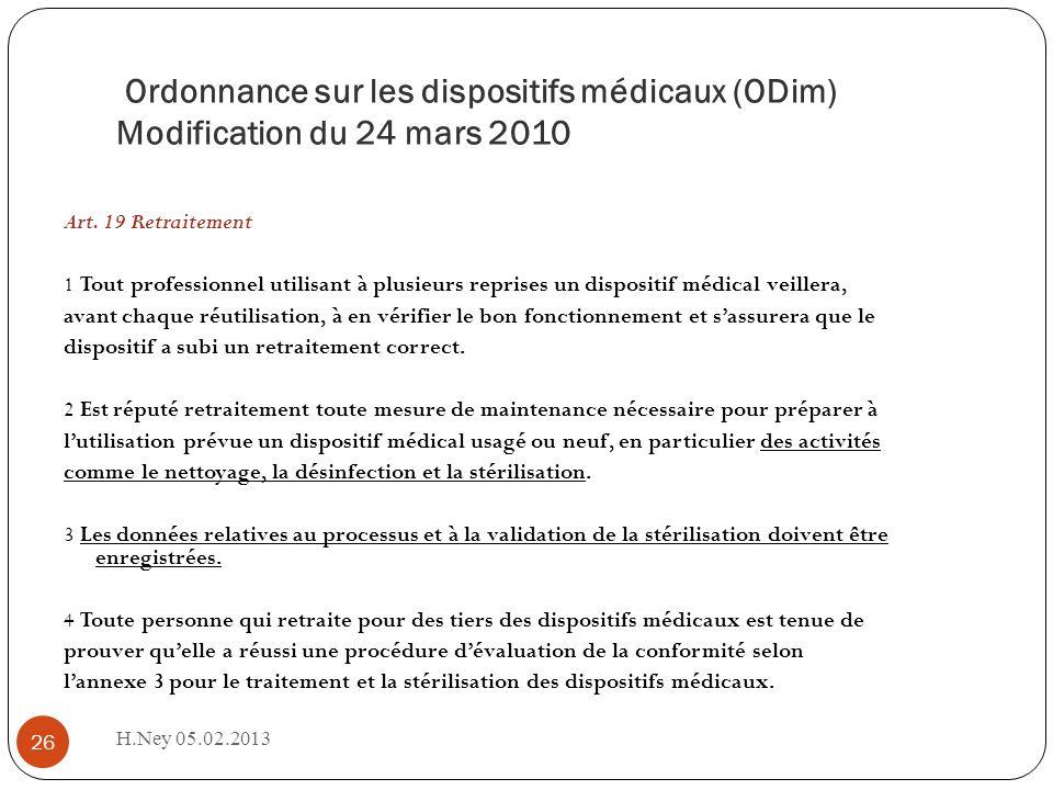 Ordonnance sur les dispositifs médicaux (ODim) Modification du 24 mars 2010