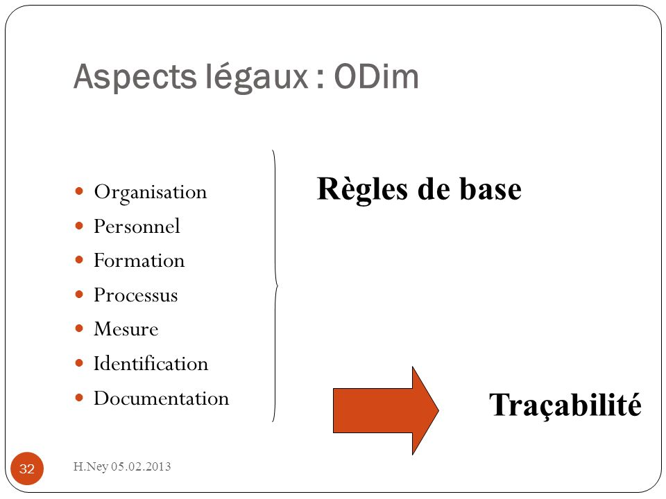 Aspects légaux : ODim Règles de base Traçabilité Organisation