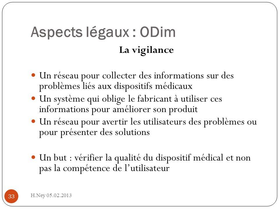 Aspects légaux : ODim La vigilance