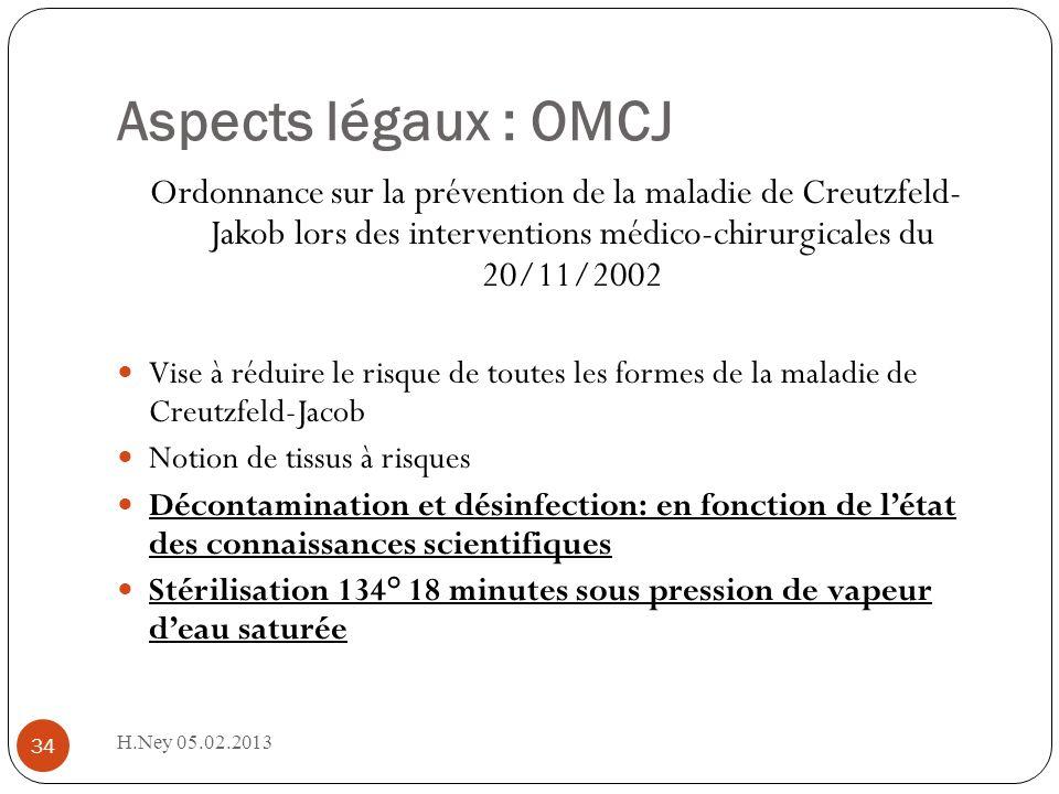 Aspects légaux : OMCJ Ordonnance sur la prévention de la maladie de Creutzfeld- Jakob lors des interventions médico-chirurgicales du 20/11/2002.