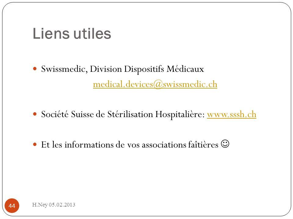 Liens utiles Swissmedic, Division Dispositifs Médicaux