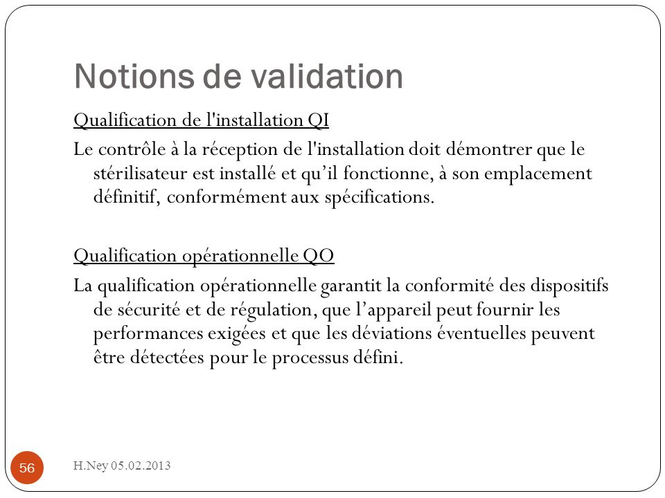 Notions de validation