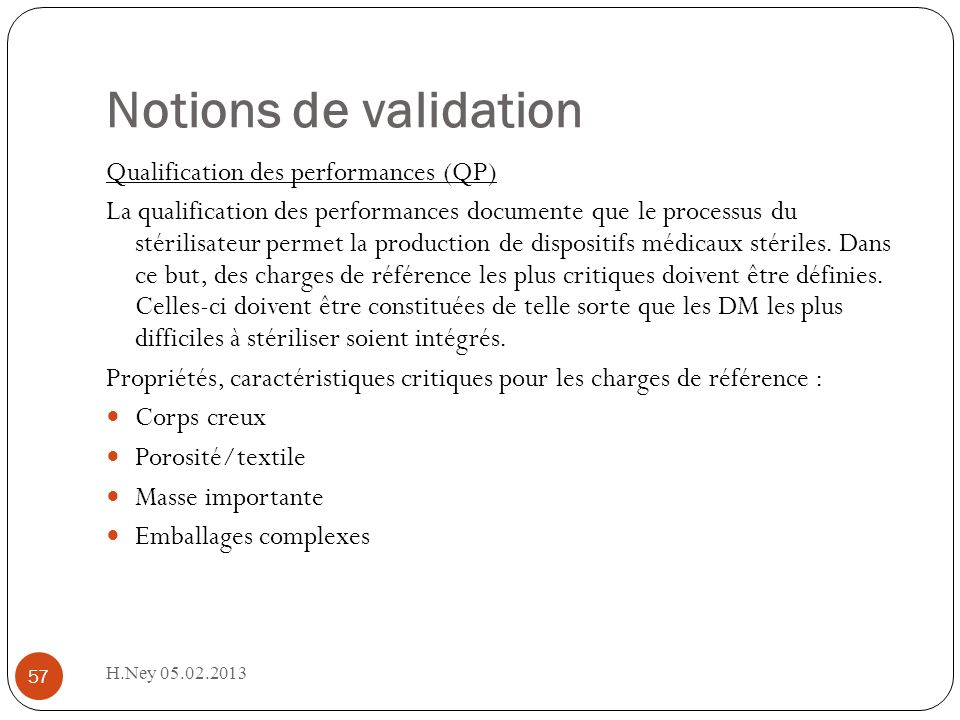 Notions de validation Qualification des performances (QP)