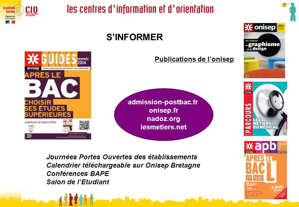 S'INFORMER Publications de l'onisep admission-postbac.fr onisep.fr