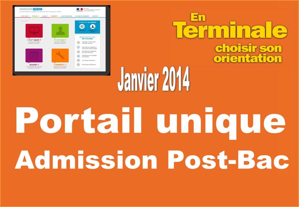 Janvier 2014 Portail unique Admission Post-Bac