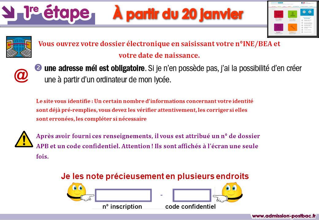 À partir du 20 janvier @ www.admission-postbac.fr
