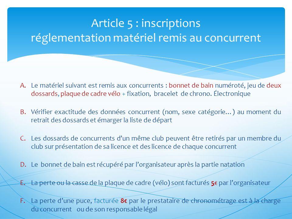Article 5 : inscriptions réglementation matériel remis au concurrent