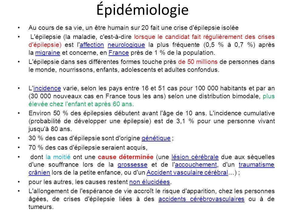 Épidémiologie Au cours de sa vie, un être humain sur 20 fait une crise d épilepsie isolée.